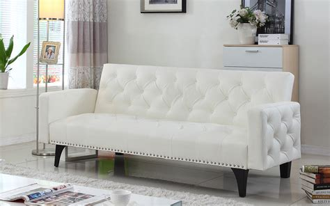 white leather sofa bed white leather sleeper sofa small modern white leather