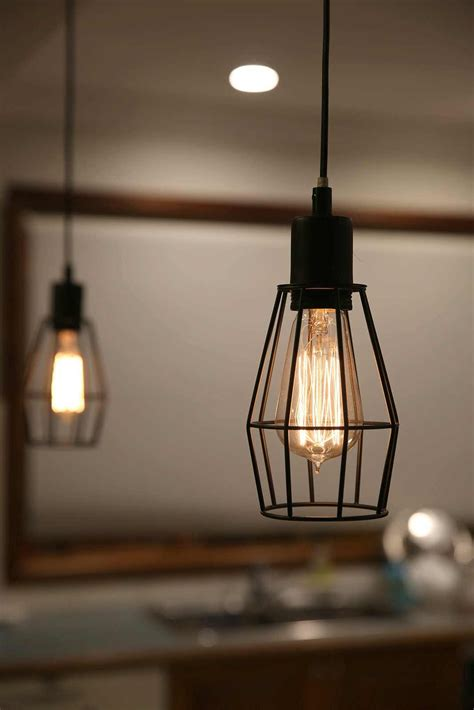 Black Industrial Cage Pendant Light For Kitchen, Dining
