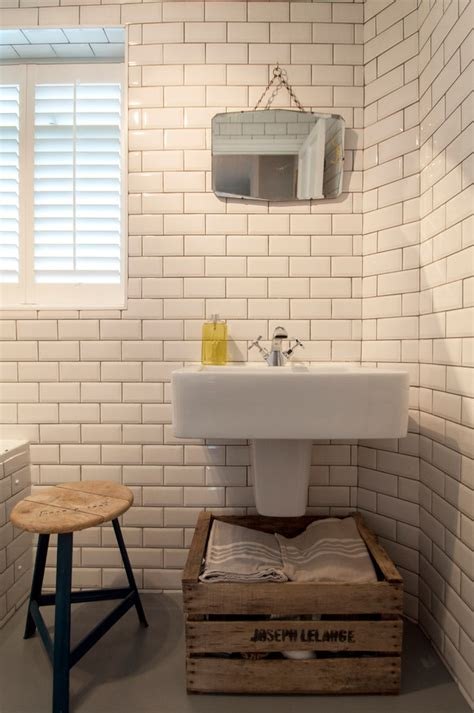 art deco mirror Bathroom Eclectic with crate storage