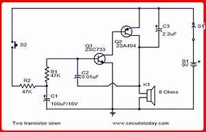 Skema Rangkaian Amplifier  Sirine 2 Transistor
