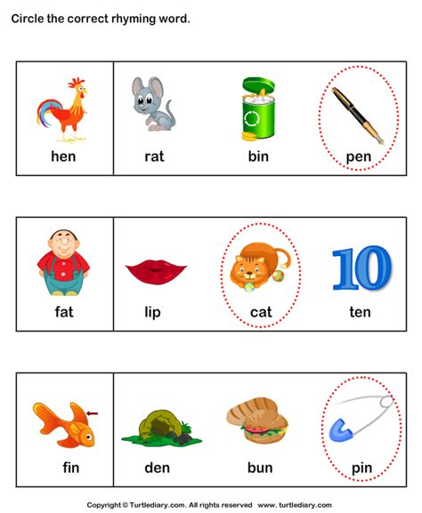Find Words That Rhyme Worksheet  Turtle Diary