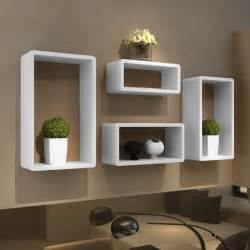 Vidaxl Four Piece Cuboid Shelf Set High Gloss White