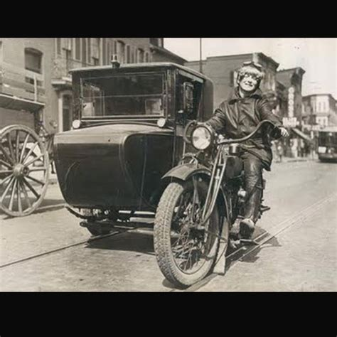 Vintage Woman Motorcycle with Sidecar