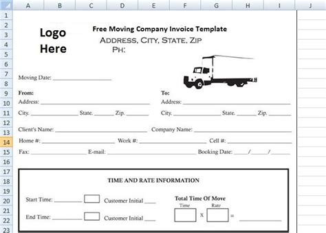 moving company invoice template excel perks