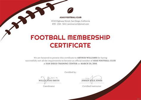 football certificate template  psd ms word