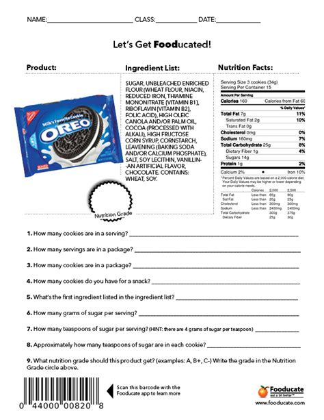 nutrition worksheets for fooducate