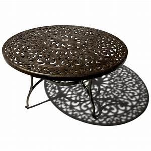 Table Ronde Aluminium : strathwood st thomas table de jardin ronde en fonte d 39 aluminium jardin ~ Teatrodelosmanantiales.com Idées de Décoration