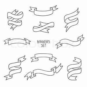 Hand drawn set of vintage ribbons. Vector illustration ...