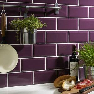 gloss plum bevelled edge ceramic wall tiles   cm