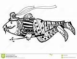 Coloring Spear Fish Wersion Weit Animals Sketch Drawn Version Schwarzes Davon Cartoon Funny Painting Fischen Stange Einem Sie sketch template