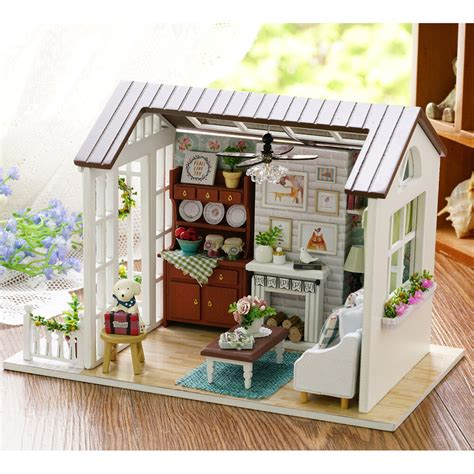 mini wooden dollhouse happy times diy doll house led