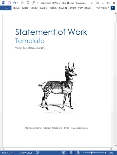 statement  work template ms wordexcel templates