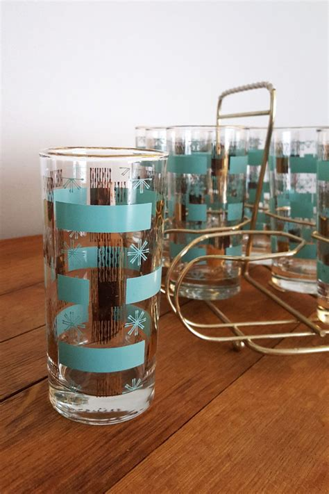 retro barware mid century glassware gold frosted atomic starburst