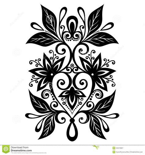 decorative flower and leaf designs decorative flower with leaves royalty free stock photography image 34572827