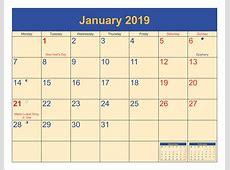 Free Printable January 2019 Calendar with Holidays