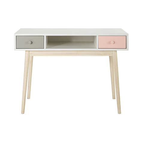 bureau bois et blanc bureau en bois blanc l 110 cm blush maisons du monde