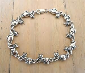 cat bracelet sterling silver kitty cat bracelet by