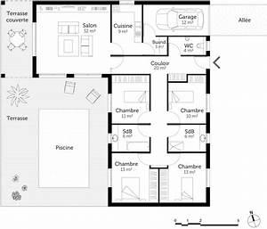 plan maison en l avec 4 chambres ooreka With plans de maison en l 4 maison genille