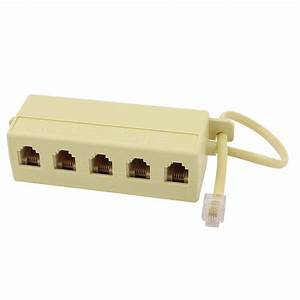 Rj11 6p4c Male To 5 Female Telephone Extension Cable Line