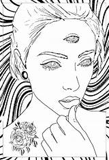 Coloring Trippy Psychedelic Pages Adults Hippie Woman Mystical Adult Eyes Printable Drawing Background Getcolorings Colouring Rose Drawings Detailed Mystic Very sketch template