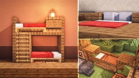 minecraft  bed build hacks  ideas   minecraft bedroom minecraft houses easy