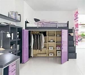 Regalwand Mit Türen : hochbett kleiderschrank darunter lila t ren graue ~ Michelbontemps.com Haus und Dekorationen