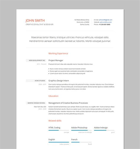 Template Of Formal Resume by 52 Modern Free Premium Cv Resume Templates
