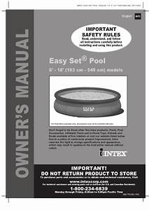 Easy Set Pool By Intex Manual For 6 Foot To 18 Foot