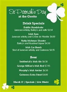 irish shamrock table tent st patricks day menus With irish menu templates