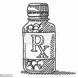 Pill Bottle Drawing Medicine Label Vector Rx Container Empty Clip Illustrations Istockphoto Cartoons sketch template