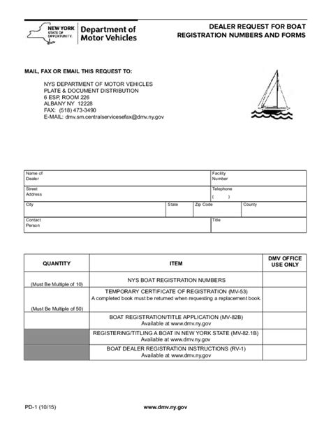 Boat Registration Numbers Ny by Form Pd 1 Request For Dealer Boat Registration New