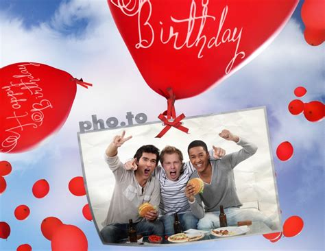 birthday card template with photo birthday card with flying balloons printable photo template