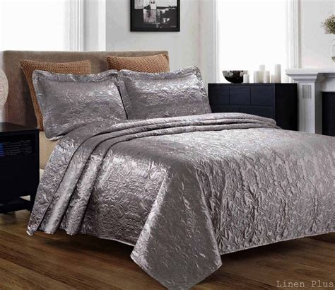 3 Piece Silky Satin Gray Quilted Bedspread Coverlet Set