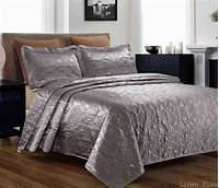 king size coverlets 3 Piece Silky Satin Gray Quilted Bedspread Coverlet Set King Size | eBay
