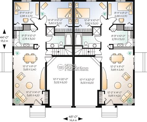 2 floor plans with garage classique jumelés bi génération w3014 maison