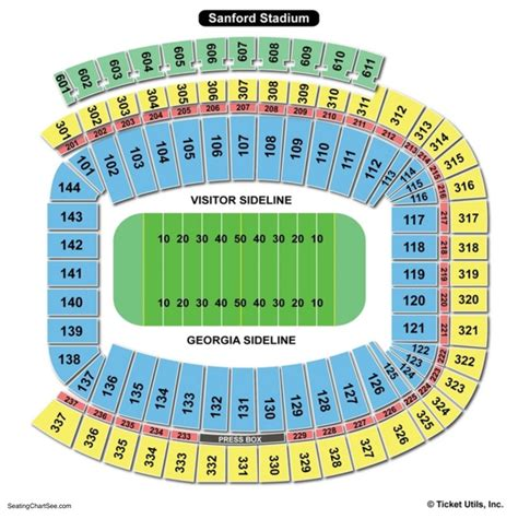 sanford stadium seating chart seating charts