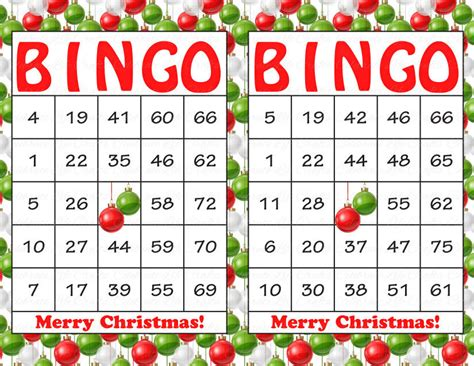 30 Merry Christmas Holiday Bingo Cards Diy