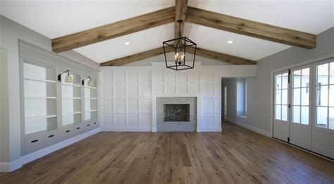 board and batten interior living room ceiling beams transitional living room