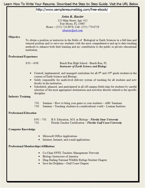 sle resume for fresher teachers fresher resume