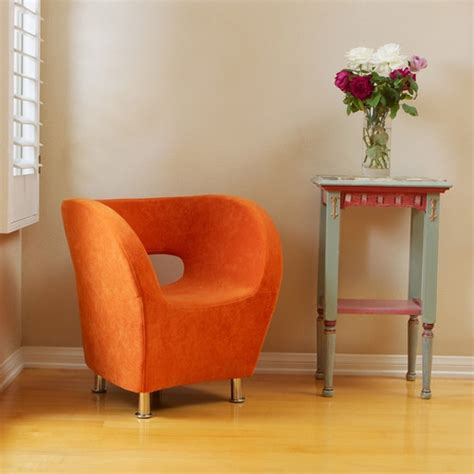 moda modern tub barrel design orange microfiber accent chair