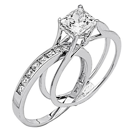 wedding ring with band 2 ct princess cut 2 engagement wedding ring band solid 14k white gold ebay