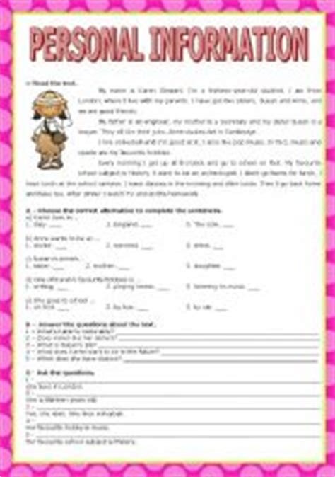 personal information worksheet by carla silva921