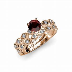 red garnet diamond marquise shape engagement ring With garnet wedding ring set