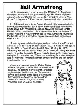 neil armstrong freebie biography article reading comprehension worksheet