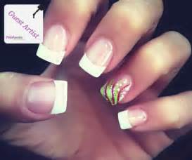 Cute white tips with design nail designs