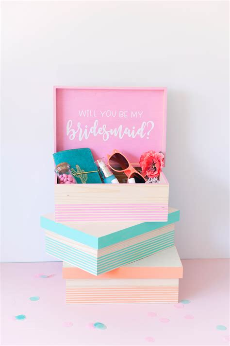 diy bridesmaid gift boxes  love  party