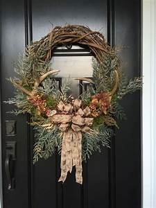 Rustic, Fall, Or, Winter, Wreath, With, Antlers, In, A, Grape, Vine, Wreath, With, Green, Pines, Grasses
