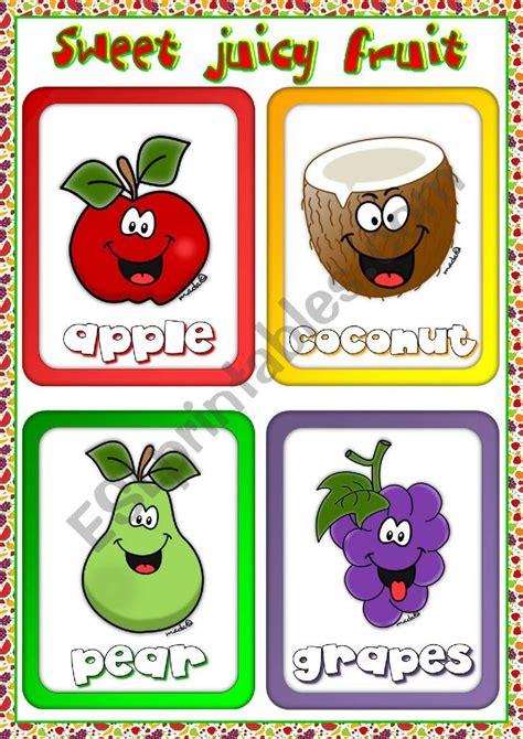 fruit flashcards  esl worksheet  mada