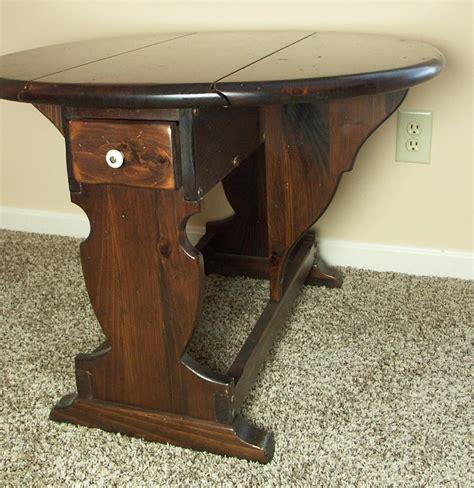 vintage drop leaf side table vintage ethan allen knotty pine drop leaf side table ebth