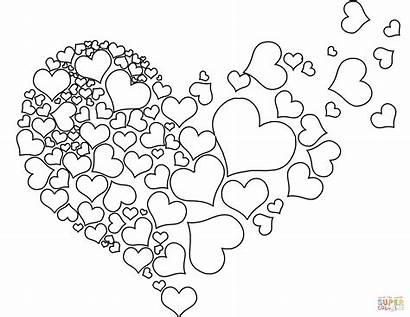 Coloring Heart Pages Printable Hearts Torn Shape